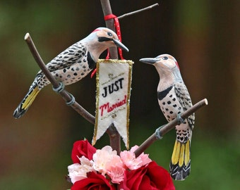 Northern Flicker Love Birds handmade wedding cake topper