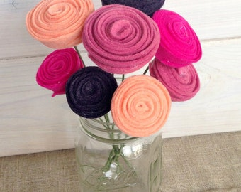 Handmade Felt Flower Stems - Buds (Bunch of 3 stems!)