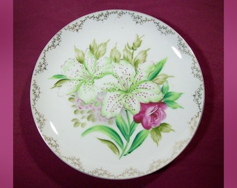MCM Decorative Hand Painted Porcelain Plate with Oriental Lilies / 1960s Decorative Plate White Lily with Pink Spots & Roses