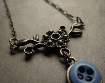 Tiny Blue Button Necklace - Soft Indigo