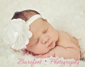 White Flower Headband, Satin & Tulle White Flower Puff Headband or Hair Clip, Baptism, Christening, Flower Girl, Baby Child Girls Headband