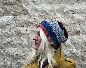 Knit Hat- Slouchy Beanie - Striped Beanie- Mens Winter Hat- Womens Knit Hat - Wool Tam - Slouchy Beanie Hat