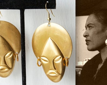 Vintage Billie Holiday Style Earrings // 1940s Brass African Queen Earrings // Novelty Earrings