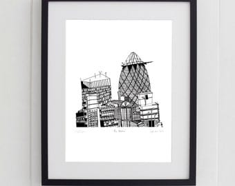 The Gherkin, London Print