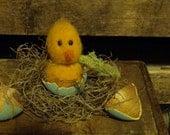 Primitive Needle Felted Wool Bird Chick & Egg Nest Doll - Folk Art Soft Sculptures Dolls