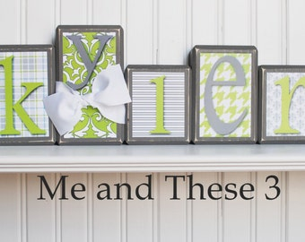 Wood letter name blocks - Grey lime green plaid stripe houndstooth