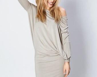 Asymmetrical dress   Coctail dress   Light brown dress   LeMuse asymmetrical dress