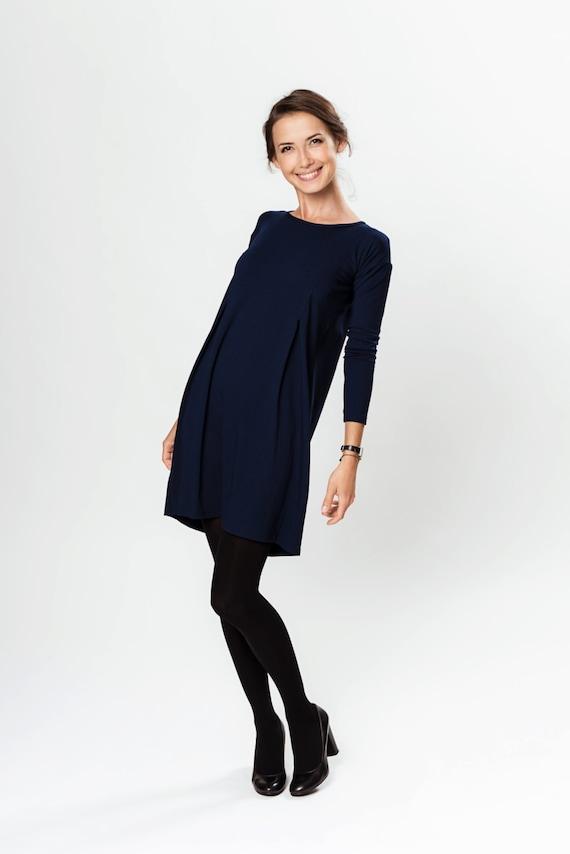 Dark blue dress | A line dress | Viscose dress | Plus size dress | LeMuse dress