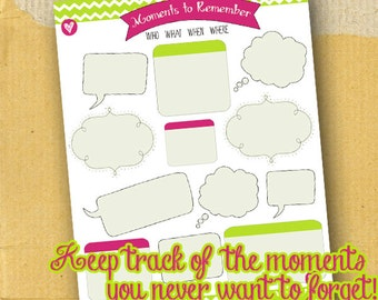Memory Keeper / Planner Page / Form / DIY / Printable /