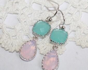 Pink Pearl Opal Mint Teardrop Silver Petite Earrings, Delicate Double drop Pastel Pink Mint Blue bezel set Earrings - Bridesmaid Jewelry
