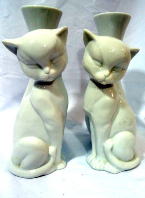 Vintage 60s Cat Vases
