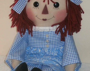 "18"" Primitive Raggedy Ann/ Annie Doll made to order"