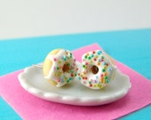 Food Jewelry with Rainbow Sprinkles Vanilla Bean Icing // MADE TO ORDER // Post or Clip On Earrings