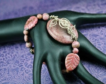 Size 8 Pink Rhodonite Stretch Bracelet with Sterling Silver Rose and Leaves