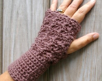 Mitts Fingerless Gloves - Arm Warmers in Taupe Brown Hand Crocheted