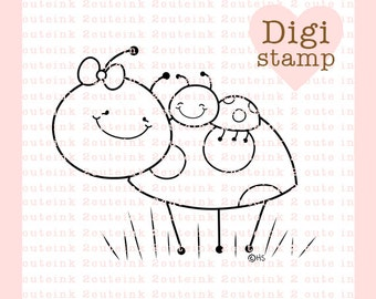 Ladybug Hugs Digital Stamp for Card Making, Paper Crafts, Scrapbooking, Gift Tags, Hand Embroidery, Invitations, Stickers, Cookie Decorating