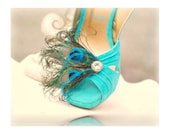 Fancy Peacock & Teal Shoe Clips. Couture Bride Bridesmaid Spring Trend, Stylish Bridal, Burlesque Rockabilly Bronze Metallic, Girlfriend BFF