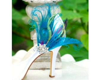 Wedding Shoe Clips. Turquoise Peacock Sword Feather & Rhinestone Crystal. Bride Bridal Bridesmaid Couture, Statement Schuh-Clips Pfau Gift