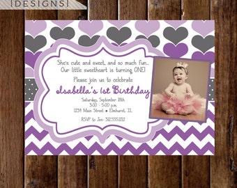 Purple and Gray Sweetheart Birthday Party Photo Invitation, Valentine Birthday Invitation, Heart Invitation, Photo Invitation, Hearts Invite