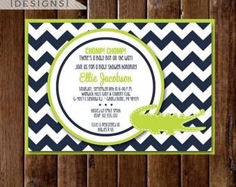 Preppy Chevron Alligator Baby Shower Invitation - Navy Blue and Lime Green - Gator Invite - Alligator Printable -PRINTABLE INVITATION DESIGN