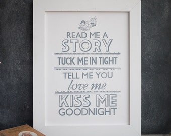Read Me a Story Nursery Print, Children Wall Art, Kids Art