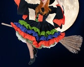 Womens Witch Costume Halloween Dress Ruffles Flared Sleeves Custom Size Including Plus Sizes High Quality Costume