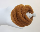 knitted fluffy cowl in mustard color
