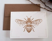 Golden Insect greeting card /// Honey Bee /// hand carved & hand stamped