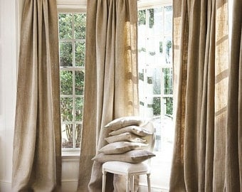 Burlap Curtains, Sale Sale Sale two days ONLY, All Natural Burlap Window Treatments Curtains, living room decor, bedroom curtains, burlap