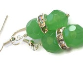 Green Faceted Crystal Rhinestone Earrings, Gifts for Women Under 20, Birthday, Wedding Jewelry, Bride Bridesmaid, Black Friday, Cyber Monday