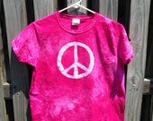 Womens Peace Sign Shirt (M), Pink Ladies Peace Sign Shirt, Batik Peace Sign Shirt, Pink Peace Sign Shirt, Ladies Peace Sign Shirt