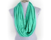 Green Heathered Infinity Scarf, Knit Fabric Loop Scarf in Kelly Green.