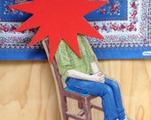 OOAK Hand painted wooden sculpture - Sitting Person with Red Star