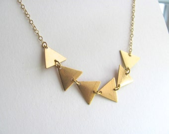 Petite triangle pendant necklace, brass bunting necklace, 14k gold plated chain and brass vintage triangle pendants,  geometric jewelry