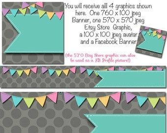 DIY Blank Etsy Banner and Facebook Set - Celebration - Customize for your Store