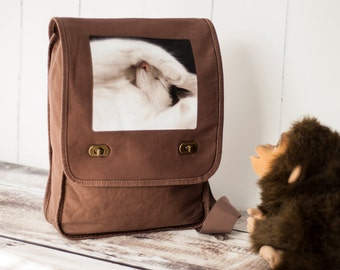 Naptime - Field Bag - School Bag - Java Brown - Canvas Bag - Cat Photo