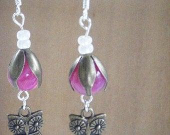 Owl Earrings, Brass Owl, Pink Beads, Brass Cap, Dangle Earrings, Sterling Silver Earring Hook