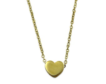 Tiny Heart Necklace - Simple Modern Brass Heart Pendant Necklace