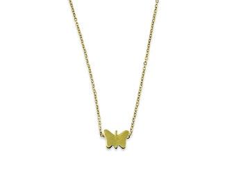 Tiny Butterfly Necklace - Simple Modern Brass Butterfly Necklace