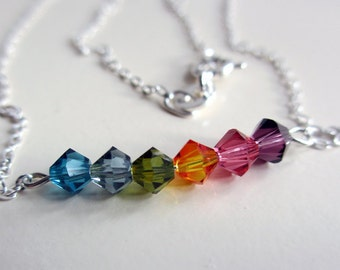 Rainbow Necklace, Swarovski Pendant, Colorful Necklace, Blue, Green, Orange, Pink, Purple Crystal Necklace
