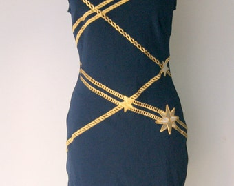 Vintage Navy and Gold Patriotic Body Con Dress