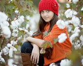 Red Cloche Hat Hand Crocheted Hats for Women and Teens Red Hat Autumn Fashion Winter Fashion Hat with Flower Red Crochet Hat