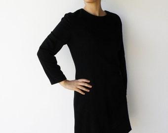 Vintage Black Mini Dress / Size M