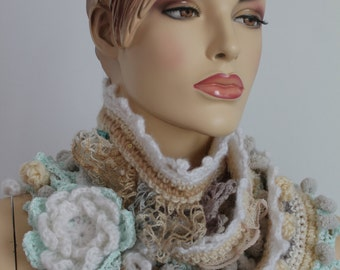 Crochet Scarf,Long Ivory Pastel  Scarf  with flower brooch , Lariat Scarf , Knit scarf,Long scarf ,Fall Fashion, Winter scarf, ready to ship