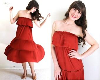70s Dress / 1970s Dress / 70s Tiered Ruffled Rust Dress
