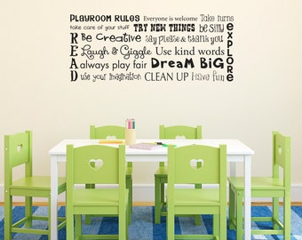 Play Room Rules Wall Decal - Playroom Rules Quote - Children Wall Decal Art - Horizontal Medium