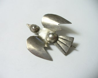 Vintage little flying bird brooch - Mexican sterling silver pre-1940 marks - 3.4 grams