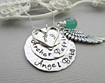 baby necklace for mom, personalized baby feet necklace, Baby Angel Necklaces, miscarriage pregnancy loss charm necklace