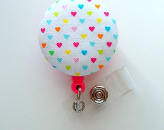 Rainbow Hearts - Name Badge Holder - Retractable ID Badge Reel - Cute ID Badge Clip - Badges - Fabric Badge Pull - Pediatric Badge
