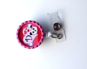 Panda Initial - Name Badge Holder - Personalized ID Badge Clip - Fun ID Badge Reel - Nurse Badge Pull